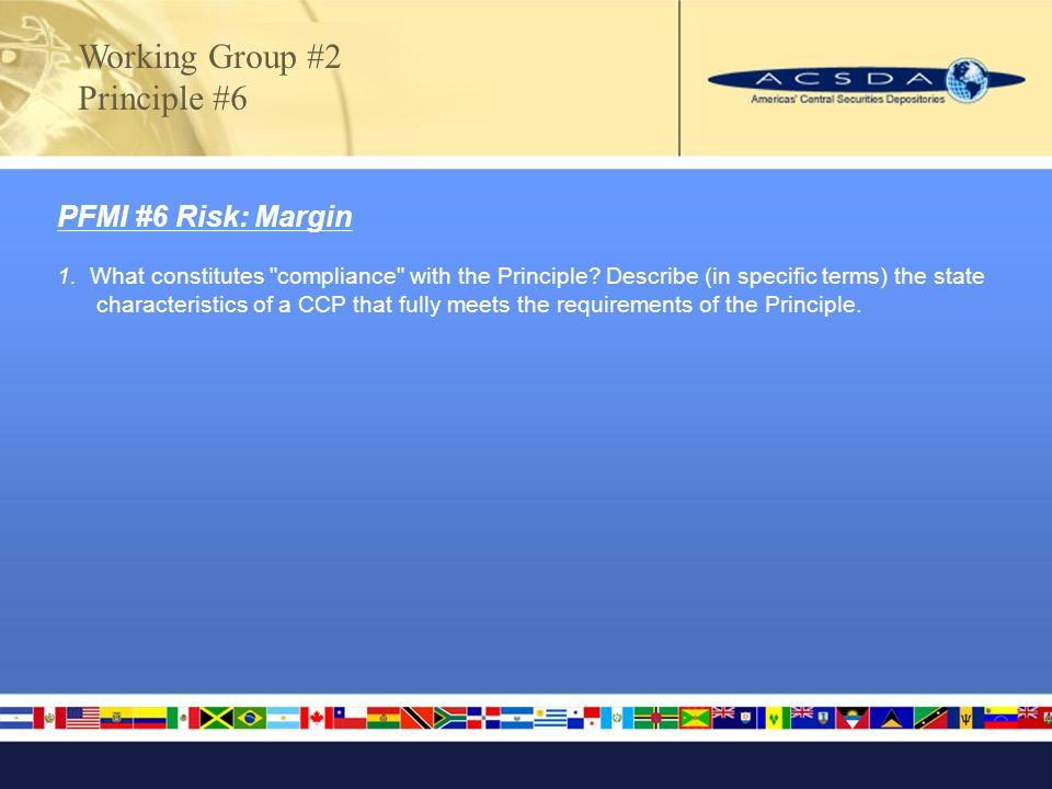 Working Group #2 Principle #6 PFMI #6 Risk: Margin 1.