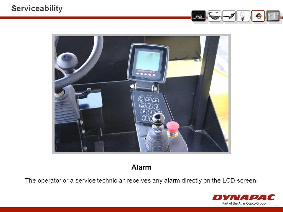 Serviceability Alarm The operator or a service technician receives any alarm directly on the LCD screen.