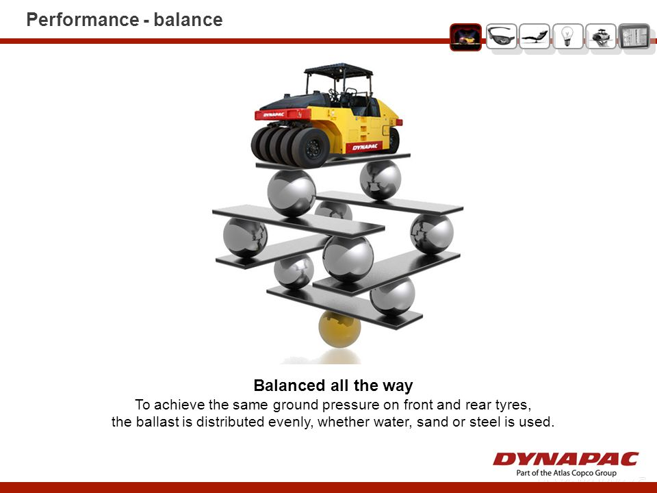 Performance - balance Balanced all the way To achieve the same ground pressure on front and rear tyres, the ballast is distributed evenly, whether wat
