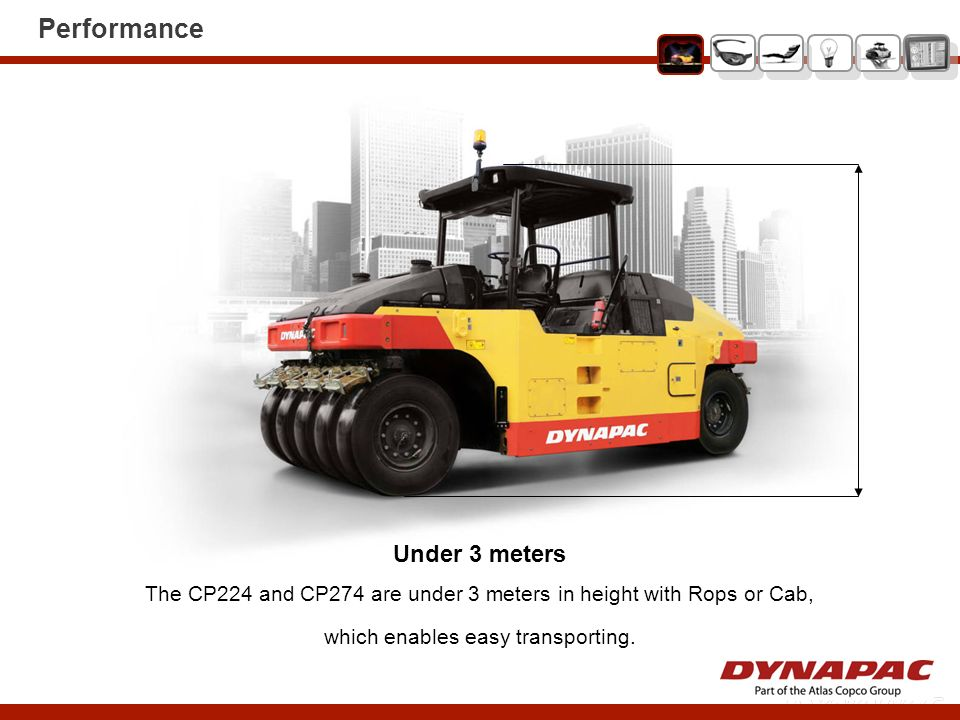 Operator Comfort Cab The spacious asymmetric cab can be equipped with Air Conditioning (AC) or Automatic Climate Control (ACC).