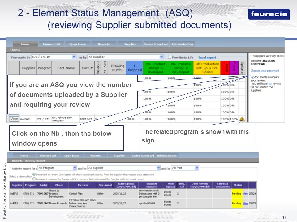 Property of Faurecia - Duplication prohibited 17 2 - Element Status Management (ASQ) (reviewing Supplier submitted documents) If you are an ASQ you vi