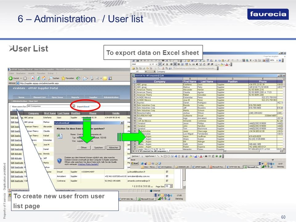 Property of Faurecia - Duplication prohibited 60 6 – Administration / User list User List To export data on Excel sheet To create new user from user l