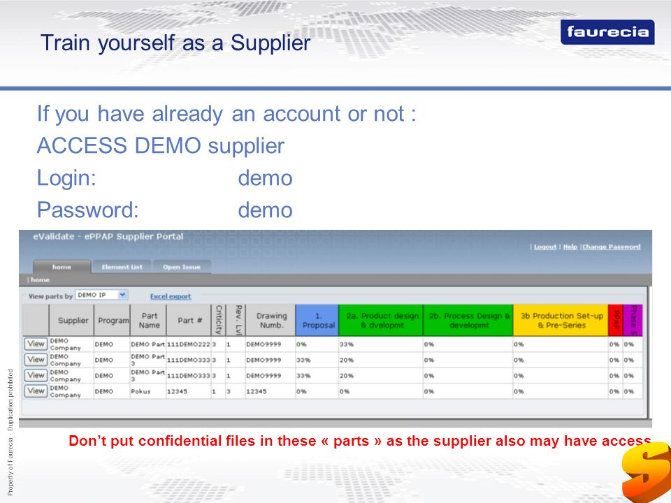 Property of Faurecia - Duplication prohibited 69 Train yourself as a Supplier If you have already an account or not : ACCESS DEMO supplier Login:demo