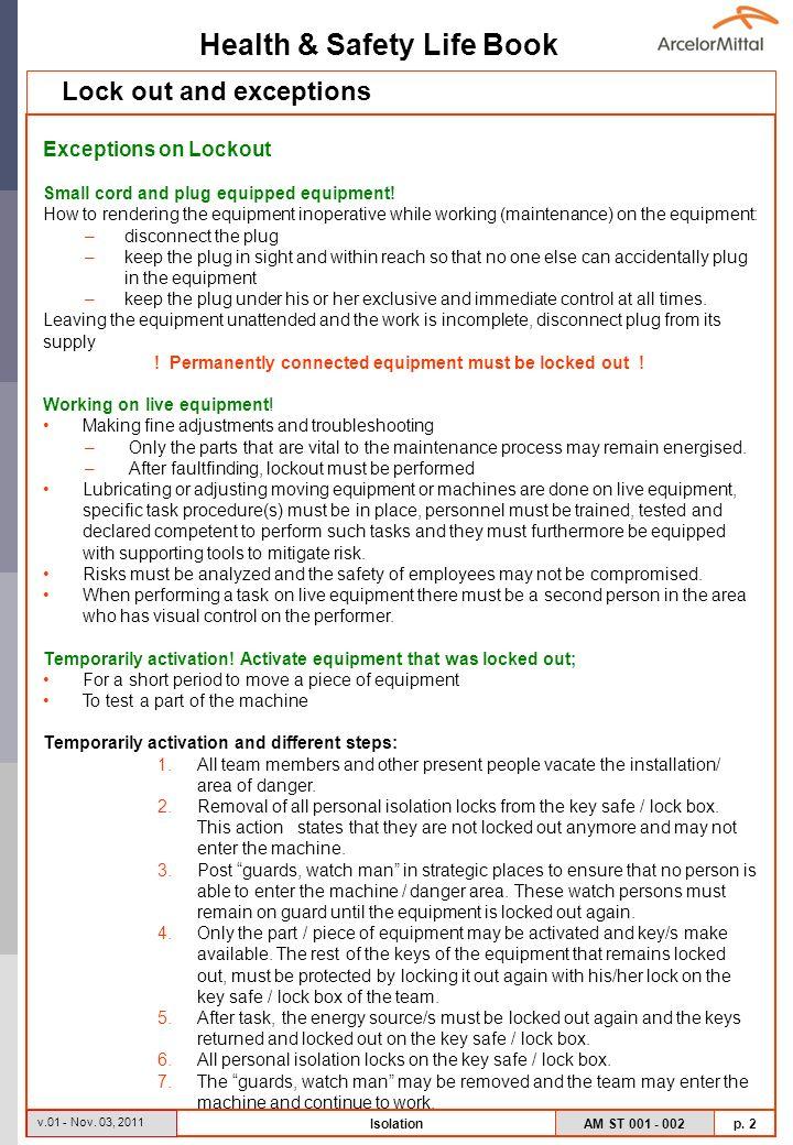 Health & Safety Life Book AM ST 001 - 002 p. 2 v.01 - Nov.