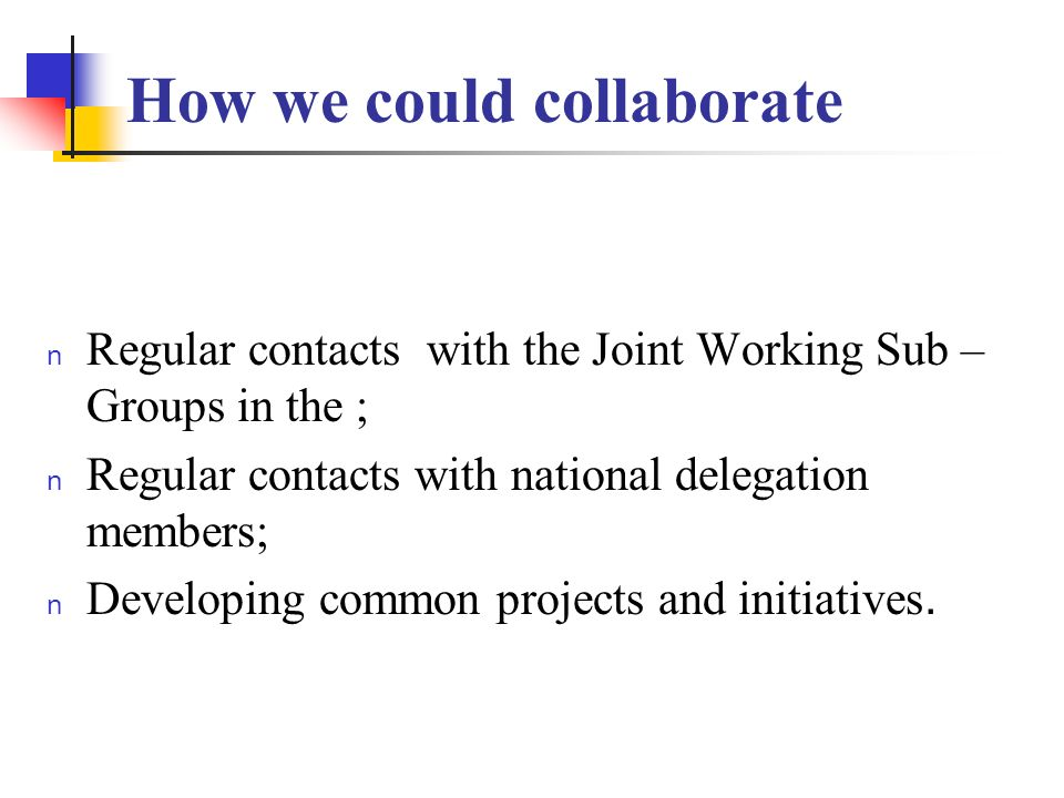 How we could collaborate n Regular contacts with the Joint Working Sub – Groups in the ; n Regular contacts with national delegation members; Developing common projects and initiatives.