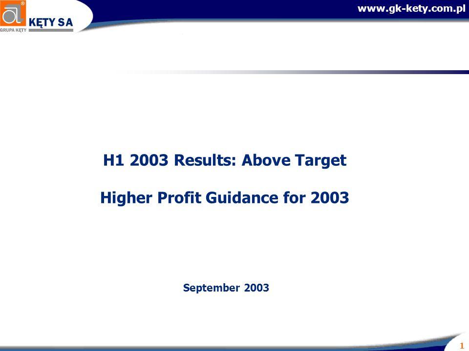 www.gk-kety.com.pl 1 H1 2003 Results: Above Target Higher Profit Guidance for 2003 September 2003