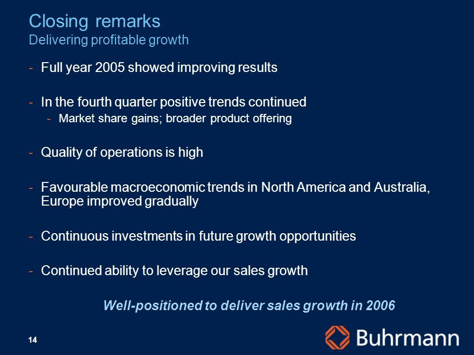14 Closing remarks Delivering profitable growth Full year 2005 showed improving results In the fourth quarter positive trends continued Market share gains; broader product offering Quality of operations is high Favourable macroeconomic trends in North America and Australia, Europe improved gradually Continuous investments in future growth opportunities Continued ability to leverage our sales growth Well-positioned to deliver sales growth in 2006