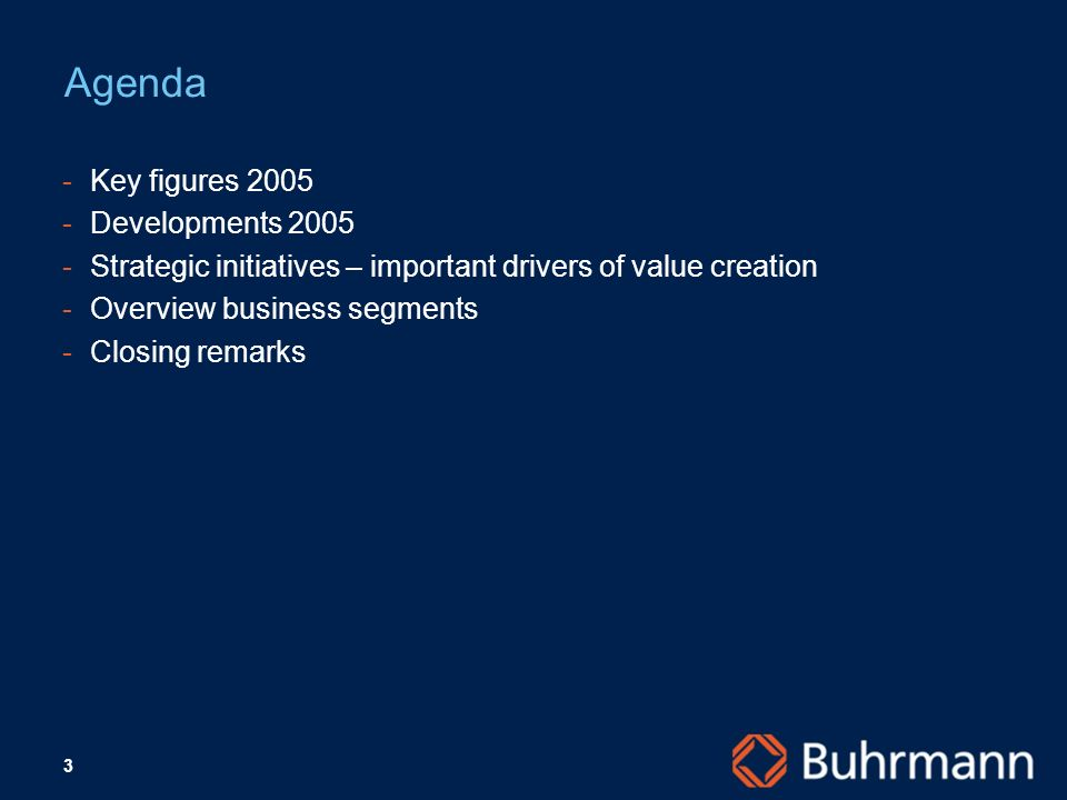 3 Agenda -Key figures 2005 -Developments 2005 -Strategic initiatives – important drivers of value creation -Overview business segments -Closing remarks