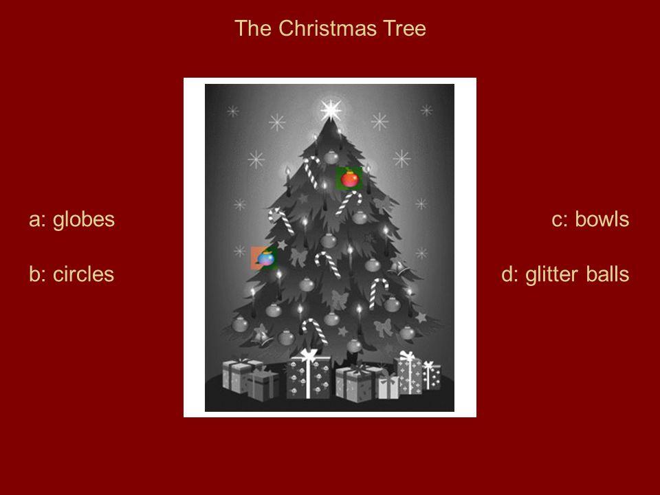 The Christmas Tree a: globes b: circles c: bowls d: glitter balls