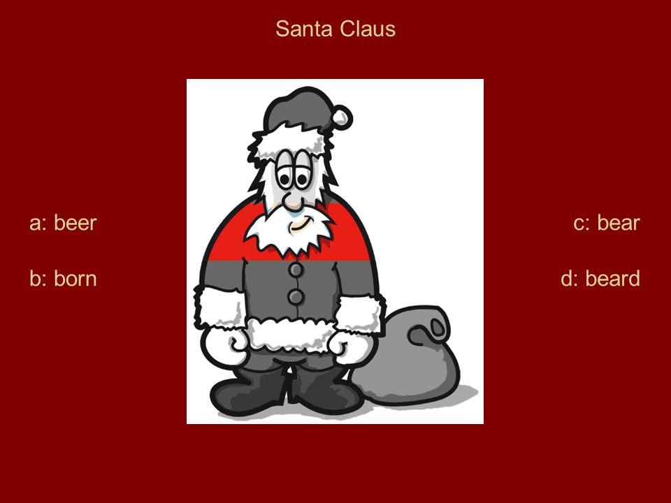 Santa Claus a: beer b: born c: bear d: beard