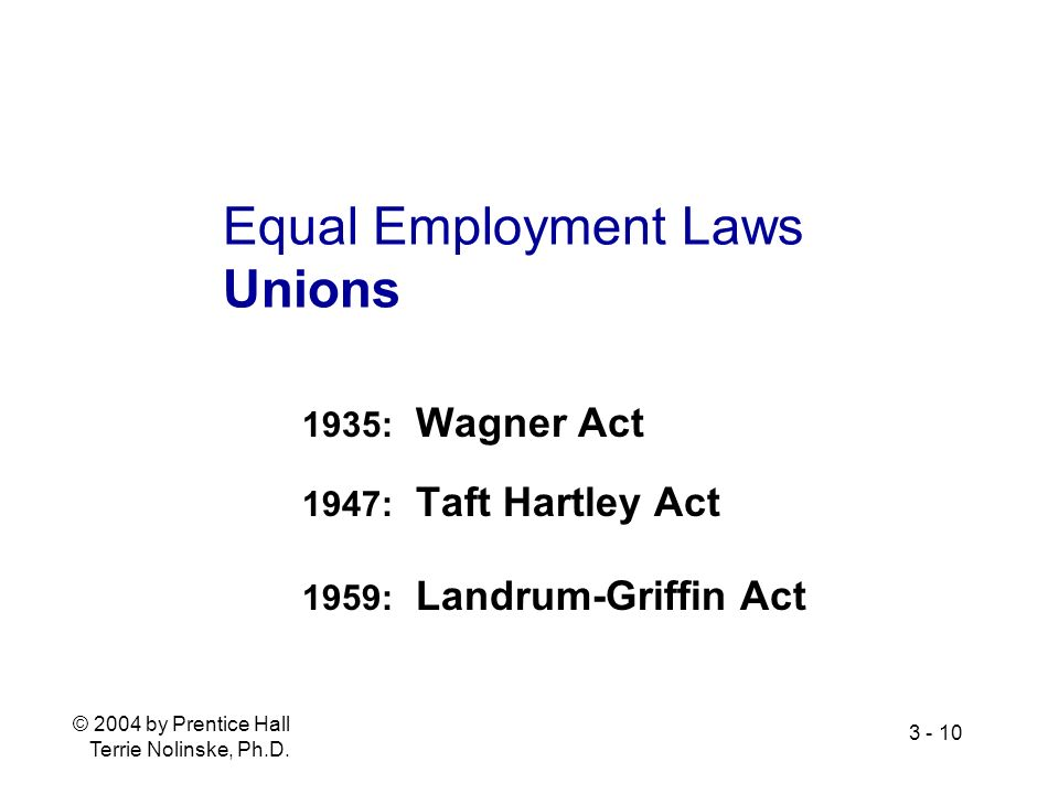 © 2004 by Prentice Hall Terrie Nolinske, Ph.D. 3 - 10 Equal Employment Laws Unions 1935: Wagner Act 1947: Taft Hartley Act 1959: Landrum-Griffin Act