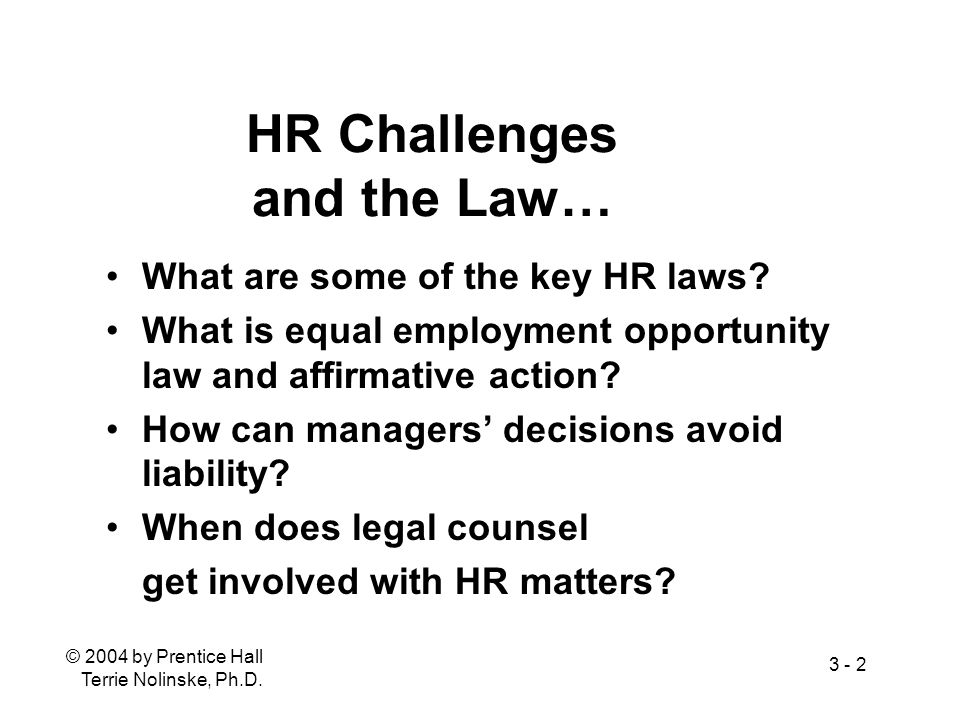© 2004 by Prentice Hall Terrie Nolinske, Ph.D. 3 - 2 HR Challenges and the Law… What are some of the key HR laws? What is equal employment opportunity