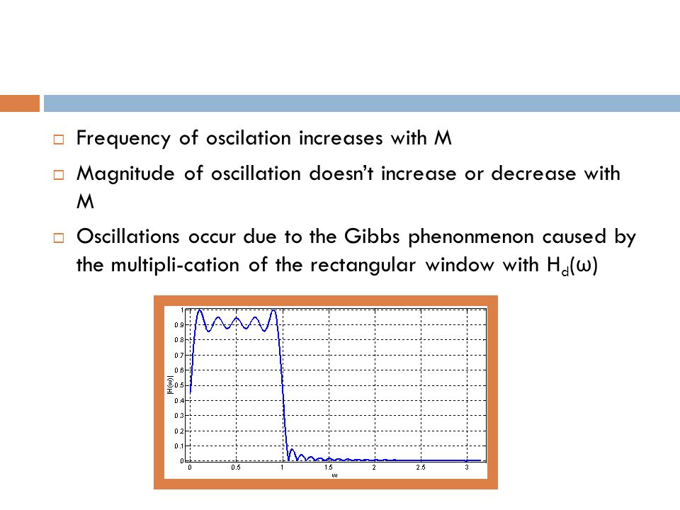 Frequency of oscilation increases with M Magnitude of oscillation doesnt increase or decrease with M Oscillations occur due to the Gibbs phenonmenon c