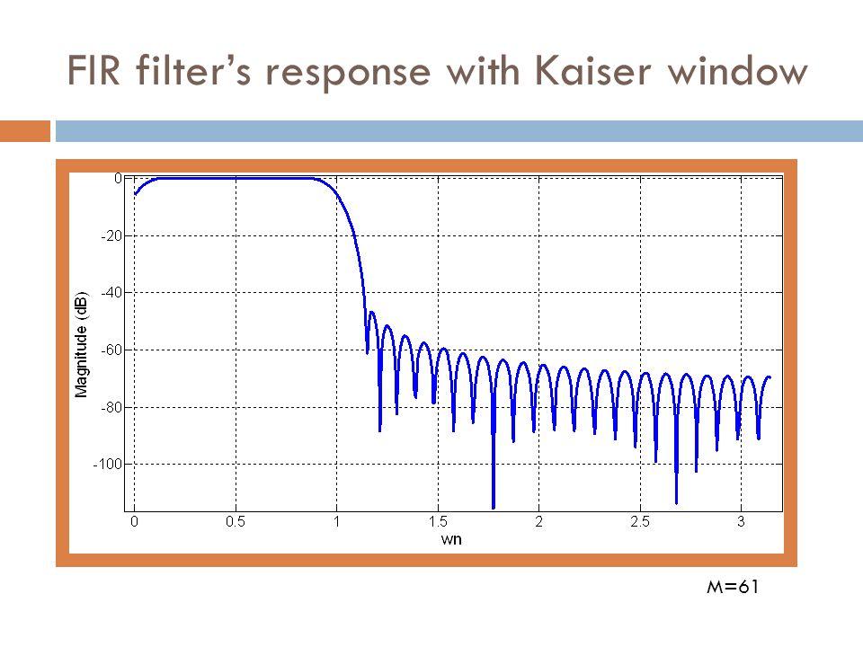 FIR filters response with Kaiser window M=61