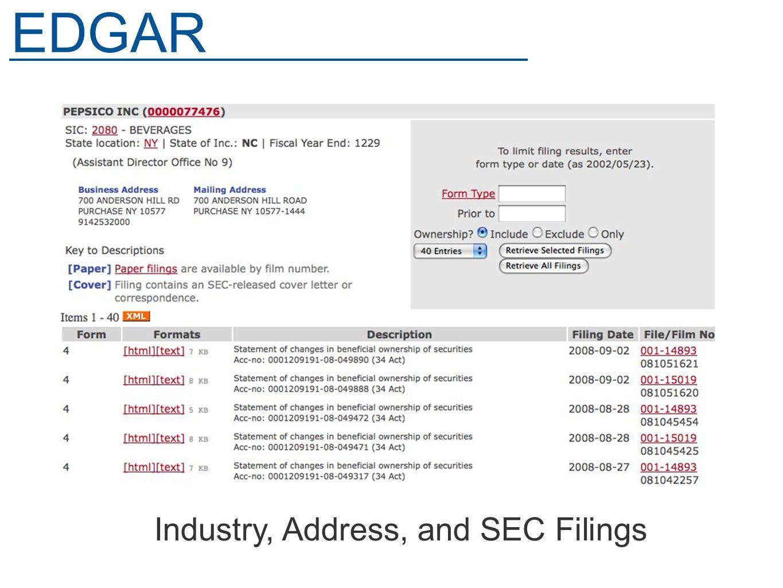 Industry, Address, and SEC Filings EDGAR
