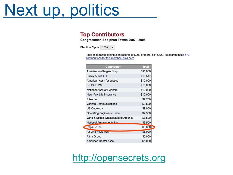 http://opensecrets.org Next up, politics