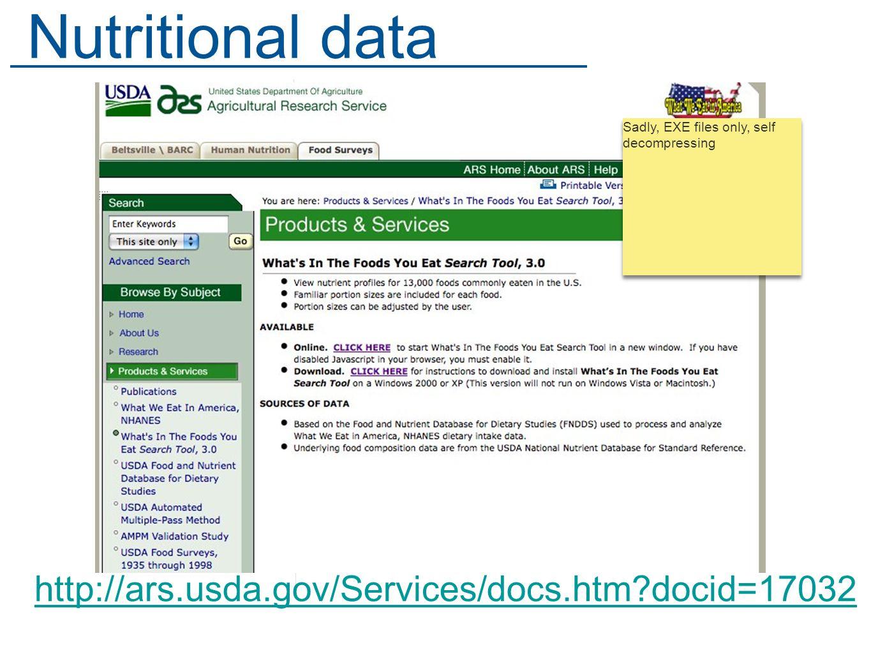 http://ars.usda.gov/Services/docs.htm docid=17032 Nutritional data Sadly, EXE files only, self decompressing