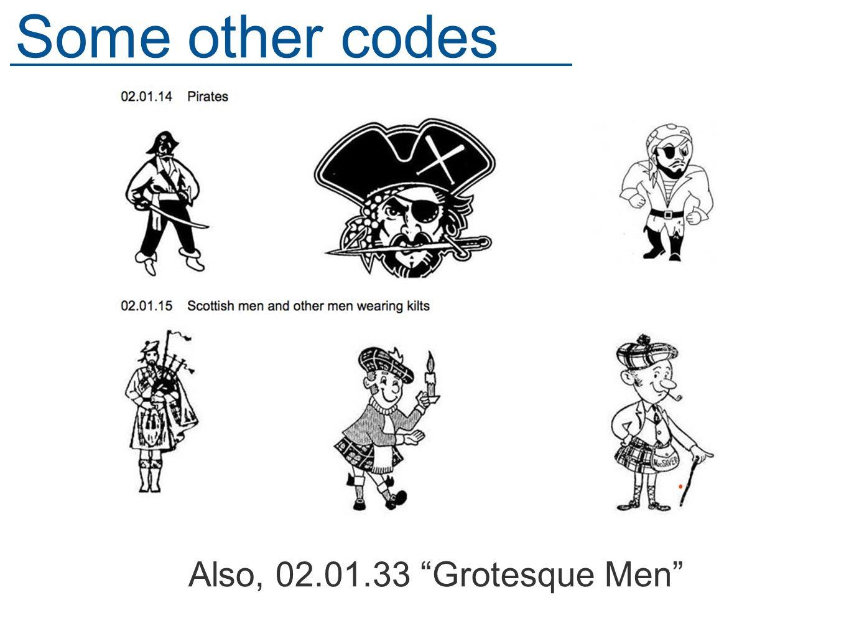 Also, 02.01.33 Grotesque Men Some other codes