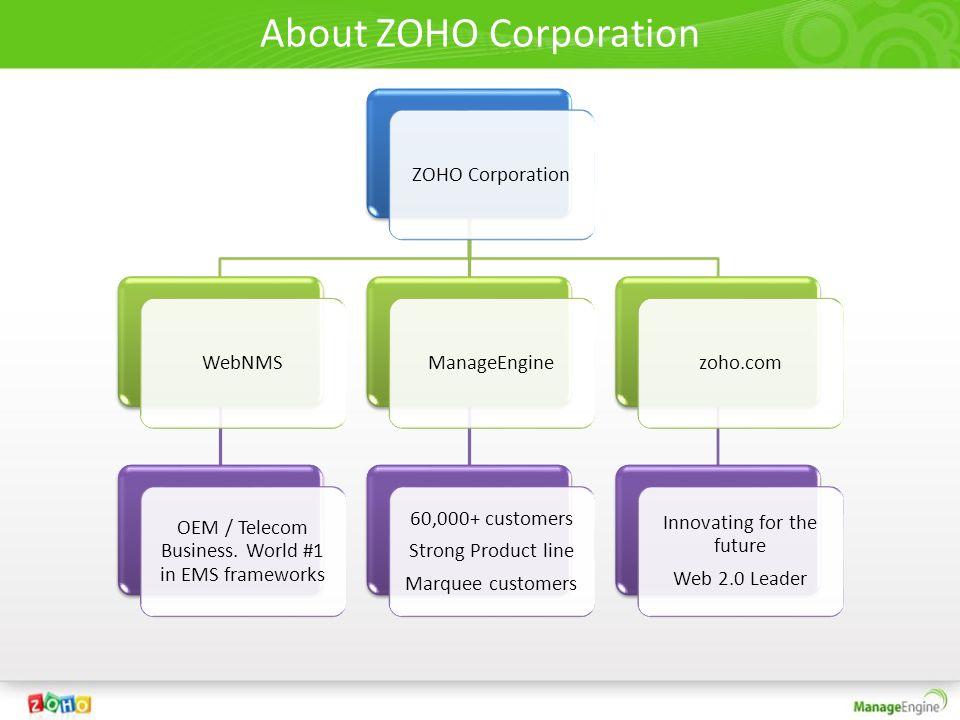 About ZOHO Corporation ZOHO CorporationWebNMS OEM / Telecom Business. World #1 in EMS frameworks ManageEngine 60,000+ customers Strong Product line Ma