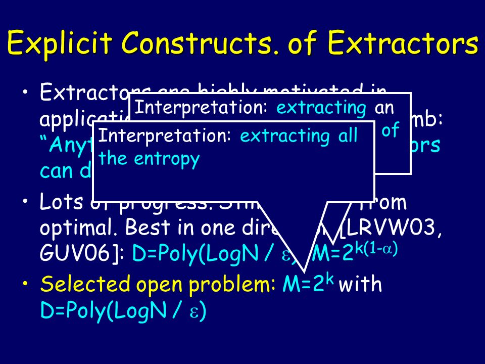Explicit Constructs. of Extractors Extractors are highly motivated in applications. As a general rule of thumb: Anything expanders can do, extractors