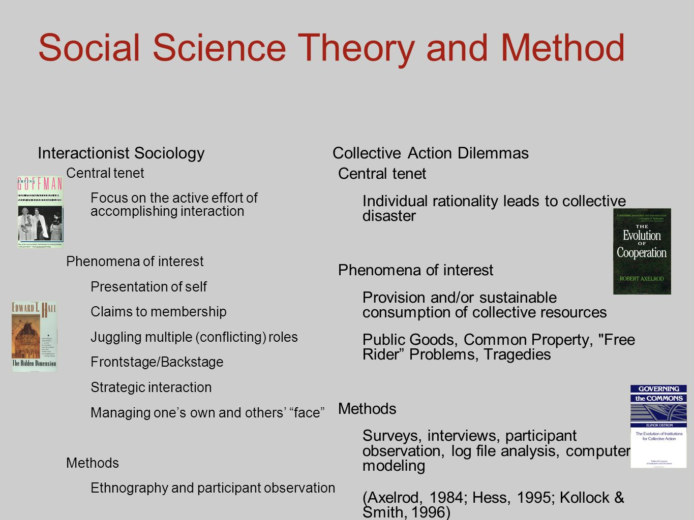 Social Science Theory and Method Interactionist Sociology Central tenet Focus on the active effort of accomplishing interaction Phenomena of interest