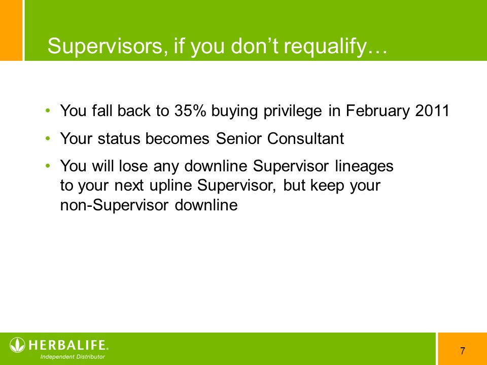 7 Supervisors, if you dont requalify… You fall back to 35% buying privilege in February 2011 Your status becomes Senior Consultant You will lose any d