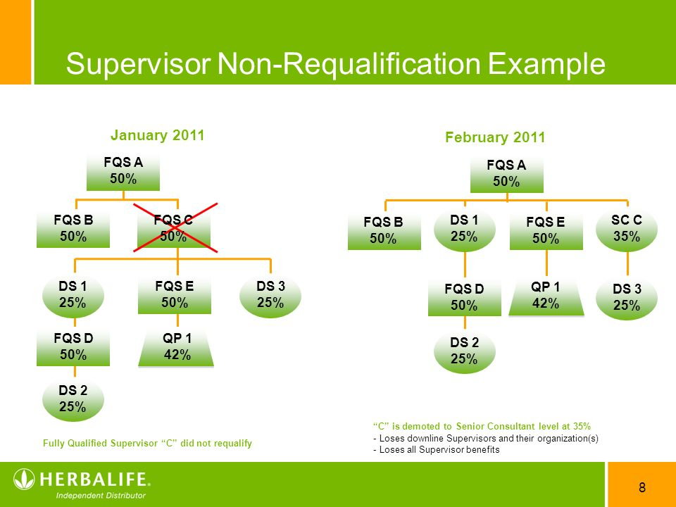 8 Supervisor Non-Requalification Example Fully Qualified Supervisor C did not requalify C is demoted to Senior Consultant level at 35% - Loses downlin