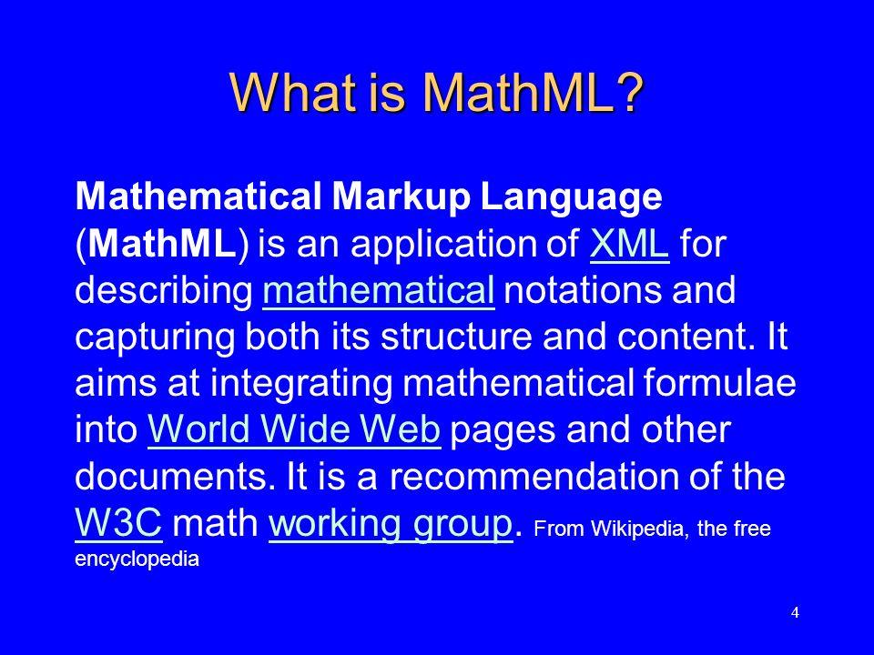 5 MathML = Math Accessibility Math Expressions written in MathML can be read by: DAISY (www.daisy.org)www.daisy.org MathPlayer (www.designscience.com)www.designscience.com ReadHear (www.ghbraille.com)www.ghbraille.com