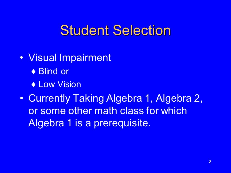 Criteria for Selecting Math Expressions Appropriate level (high school algebra) Typical of expressions found in high school algebra curricula.