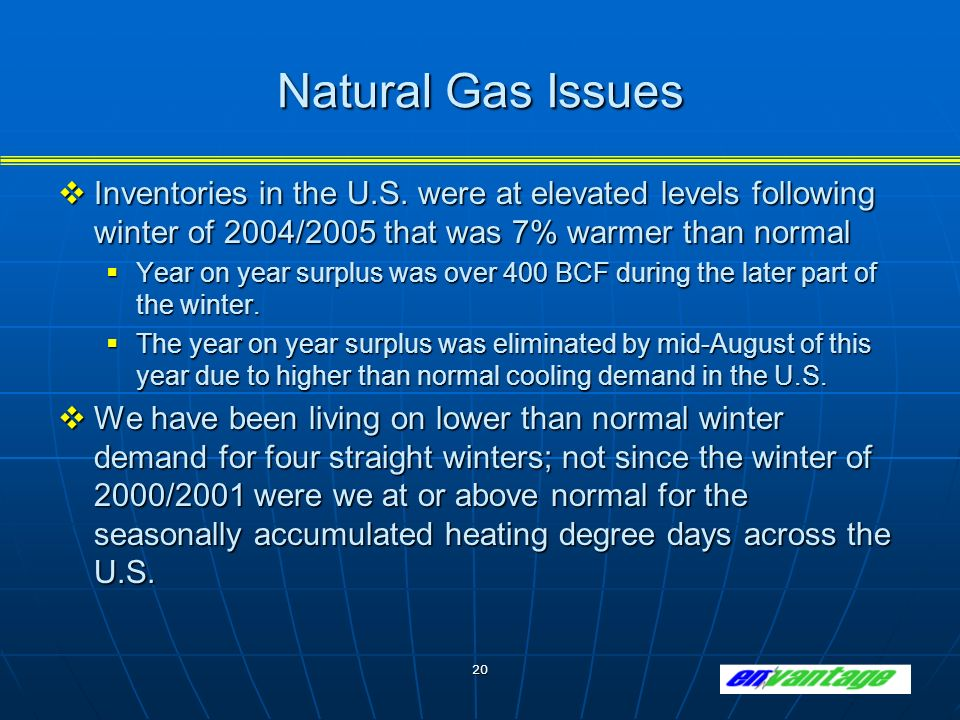 20 Natural Gas Issues Inventories in the U.S.