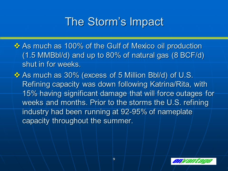 9 The Storms Impact As much as 100% of the Gulf of Mexico oil production (1.5 MMBbl/d) and up to 80% of natural gas (8 BCF/d) shut in for weeks.