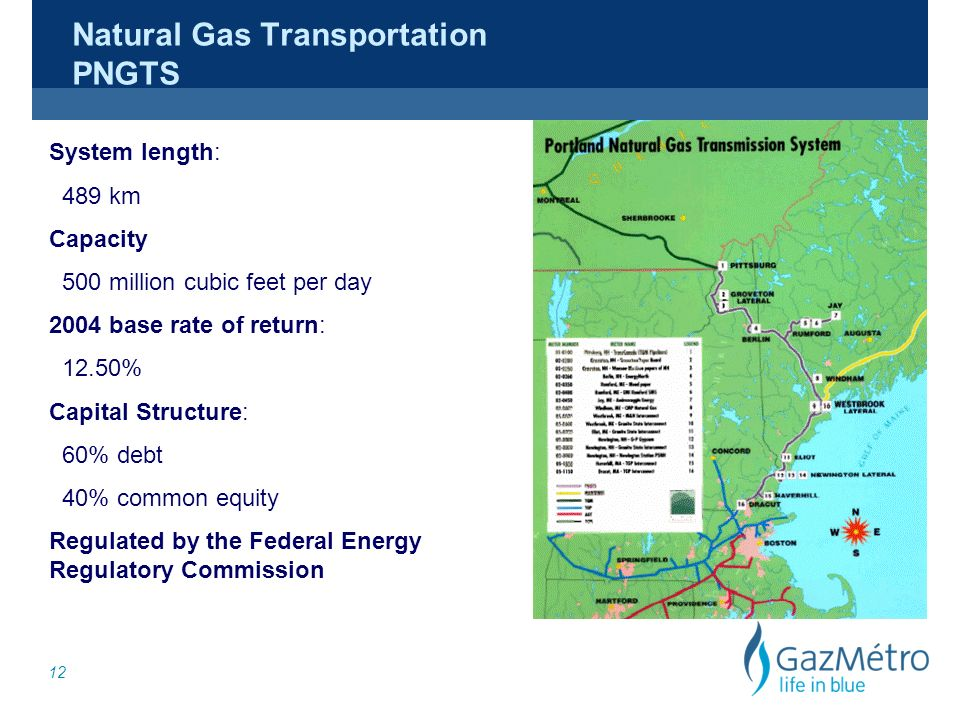 12 Natural Gas Transportation PNGTS System length: 489 km Capacity 500 million cubic feet per day 2004 base rate of return: 12.50% Capital Structure: