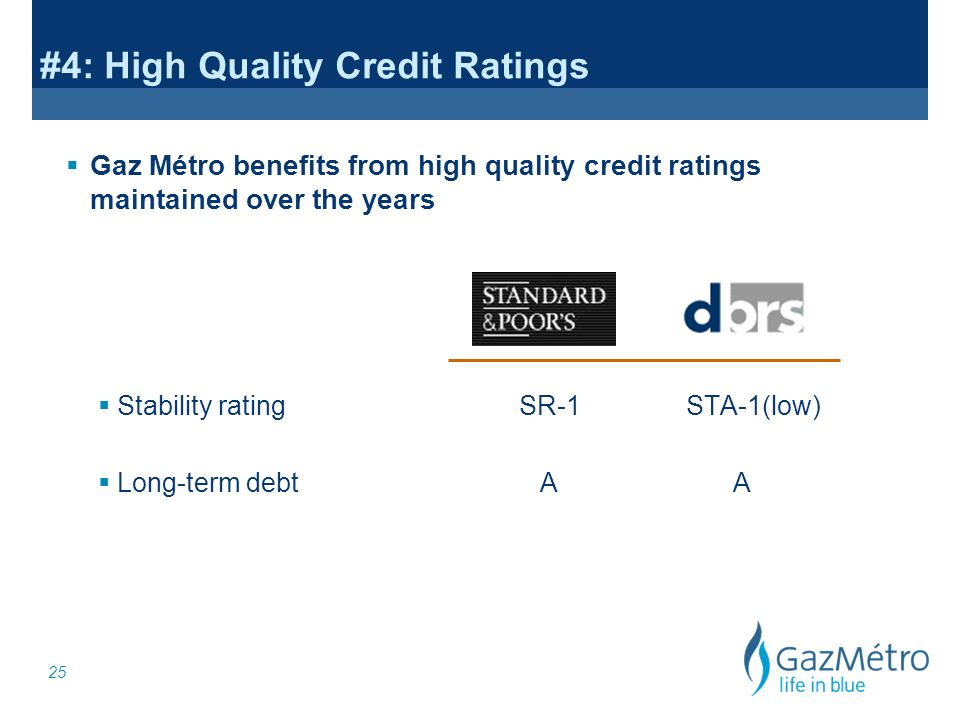 25 Gaz Métro benefits from high quality credit ratings maintained over the years #4: High Quality Credit Ratings Stability ratingSR-1 STA-1(low) Long-