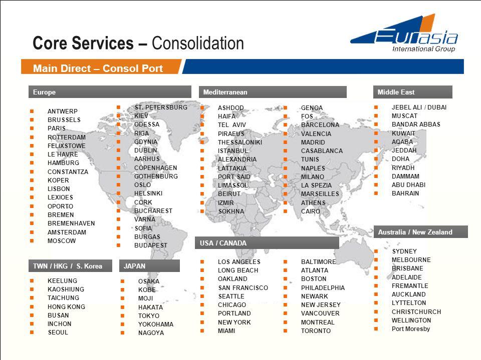Main Direct – Consol Port Core Services – Consolidation Europe ANTWERP BRUSSELS PARIS ROTTERDAM FELIXSTOWE LE HAVRE HAMBURG CONSTANTZA KOPER LISBON LE
