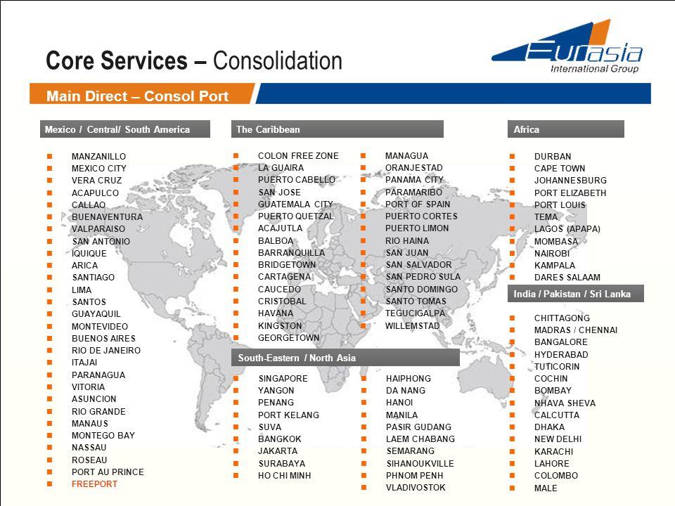 Core Services – Consolidation Main Direct – Consol Port Mexico / Central/ South America MANZANILLO MEXICO CITY VERA CRUZ ACAPULCO CALLAO BUENAVENTURA