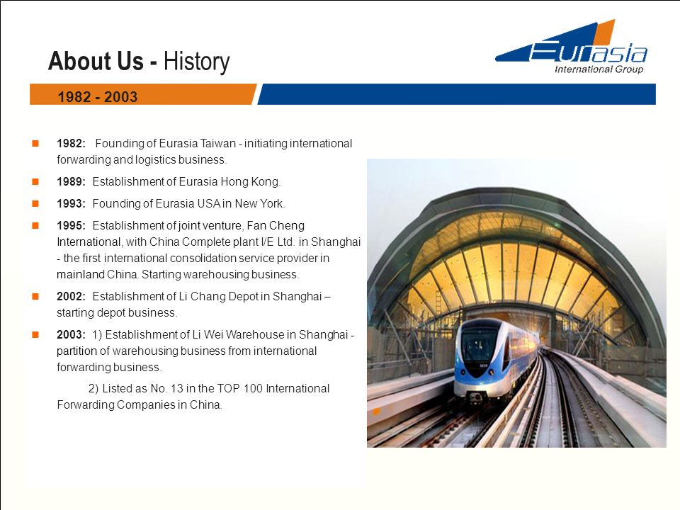 About Us - History 1982: Founding of Eurasia Taiwan - initiating international forwarding and logistics business. 1989: Establishment of Eurasia Hong