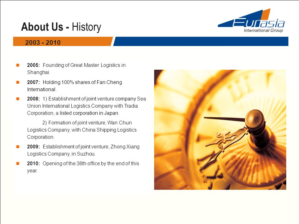 About Us - History 2005: Founding of Great Master Logistics in Shanghai. 2007: Holding 100% shares of Fan Cheng International. 2008: 1) Establishment