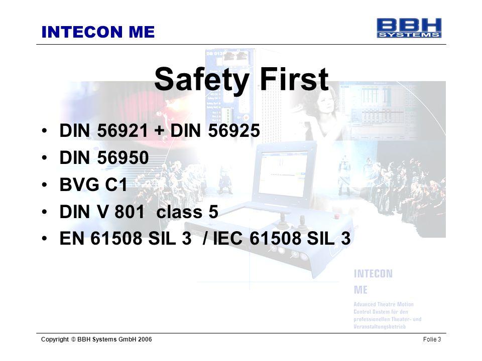 INTECON ME Copyright © BBH Systems GmbH 2006Folie 3 Safety First DIN 56921 + DIN 56925 DIN 56950 BVG C1 DIN V 801 class 5 EN 61508 SIL 3 / IEC 61508 S