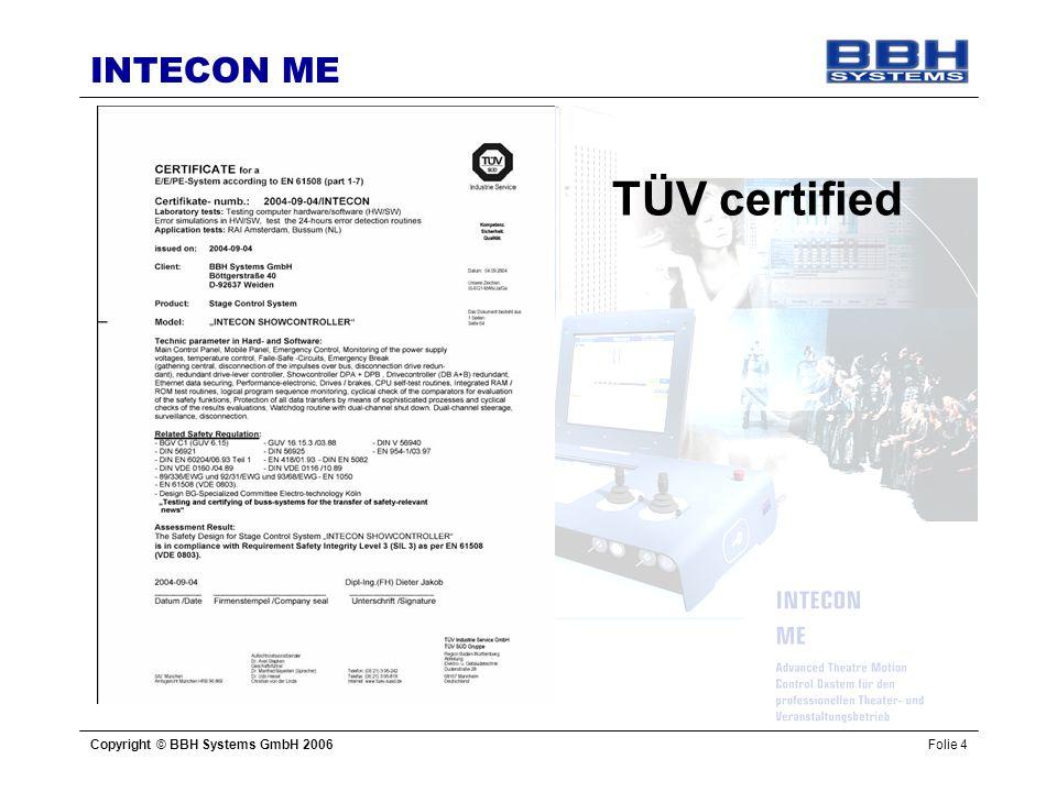 INTECON ME Copyright © BBH Systems GmbH 2006Folie 4 TÜV certified