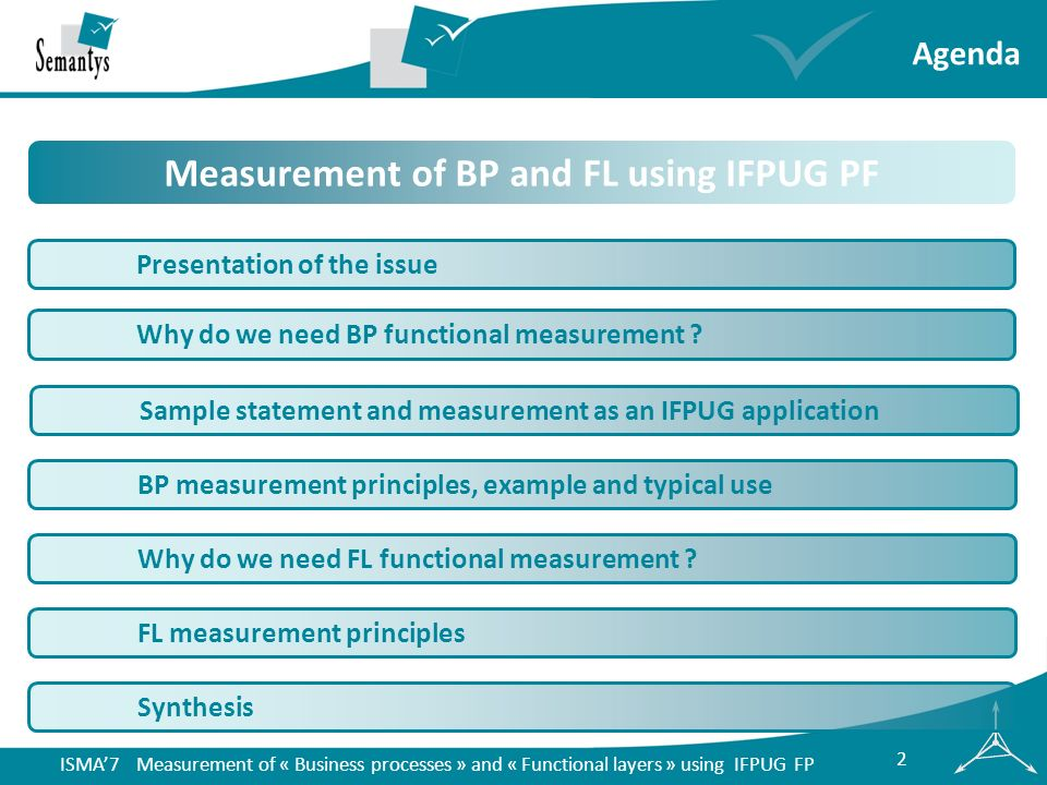 ISMA7 Measurement of « Business processes » and « Functional layers » using IFPUG FP 13 usertank & dataabbrev IFPUG type manual (y/n) state ment FP AL FP U1Management filemngF1ILFno15 U1Customer filecustF1EIFno10 U1LockerlockT1 yes U2Management filemngF2ILFno15 = mngF1 U2Customer filecustF2EIFno10 = custF1 U2LockerlockT2 yes U1 & U2TOTAL tank & data 425025 U1 & U2Percentages 33%200%100% U1 & U2TOTAL U1 & U2 1368348 U1 & U2Percentages 40%173%100% Elementary processes (EP) list the items and view the items triggered by U1 and U2 are counted twice as they do not obey the same processing logic Elementary processes scan and associate triggered by U1 and U2 are counted only once as they obey the same processing logic Example measurement IFPUG data function & sum