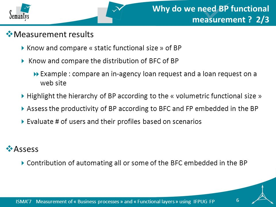 ISMA7 Measurement of « Business processes » and « Functional layers » using IFPUG FP 17 Incoming mail BP: user U1 An employee U1 takes a letter, opens the letter and verifies the documents that are in the letter U1 searches the relevant item in the management file using the function simplified list of items in the application File Management .
