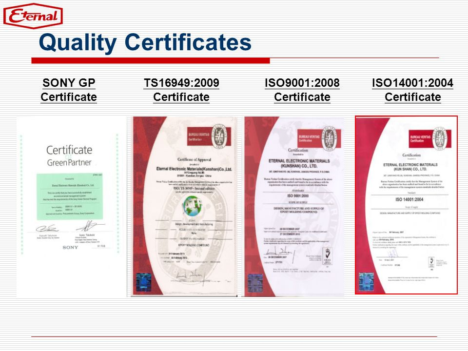 SONY GP Certificate TS16949:2009 Certificate Quality Certificates ISO9001:2008 Certificate ISO14001:2004 Certificate
