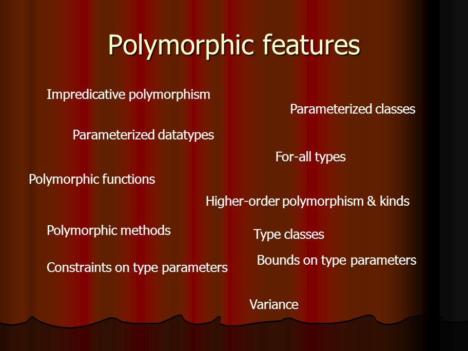 Polymorphic features Parameterized datatypes Parameterized classes Polymorphic functions For-all types Polymorphic methods Bounds on type parameters Constraints on type parameters Higher-order polymorphism & kinds Impredicative polymorphism Type classes Variance