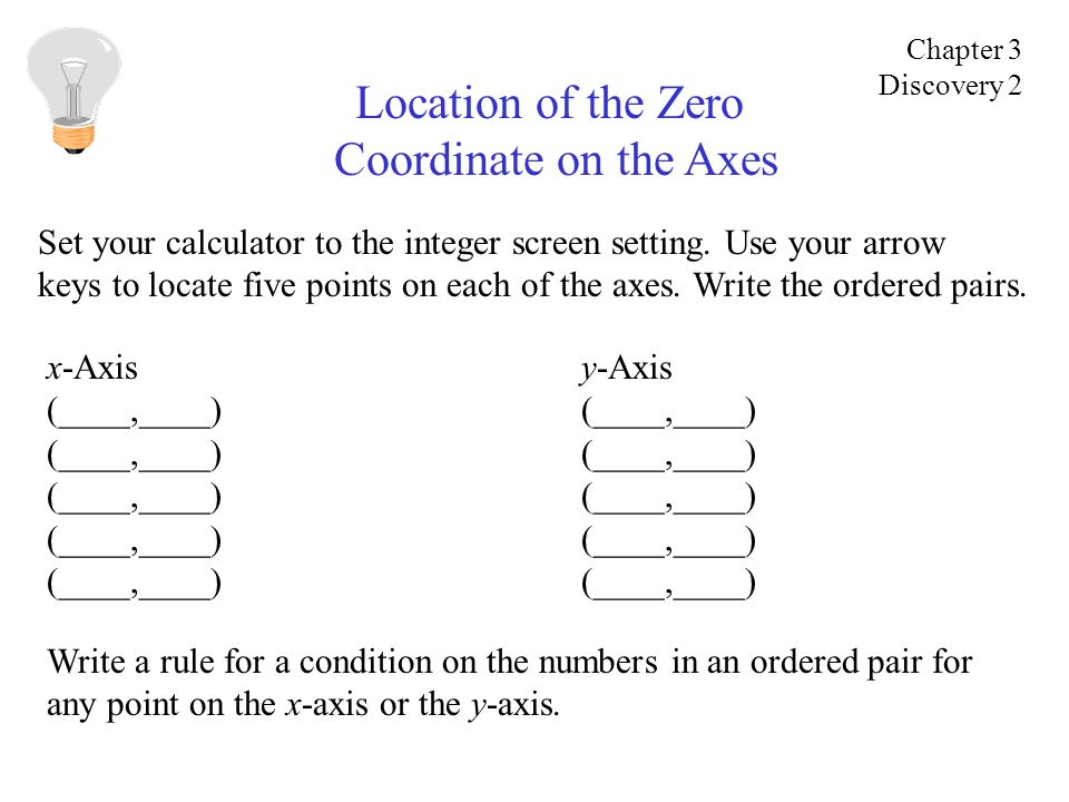 Location of the Zero Coordinate on the Axes Set your calculator to the integer screen setting. Use your arrow keys to locate five points on each of th