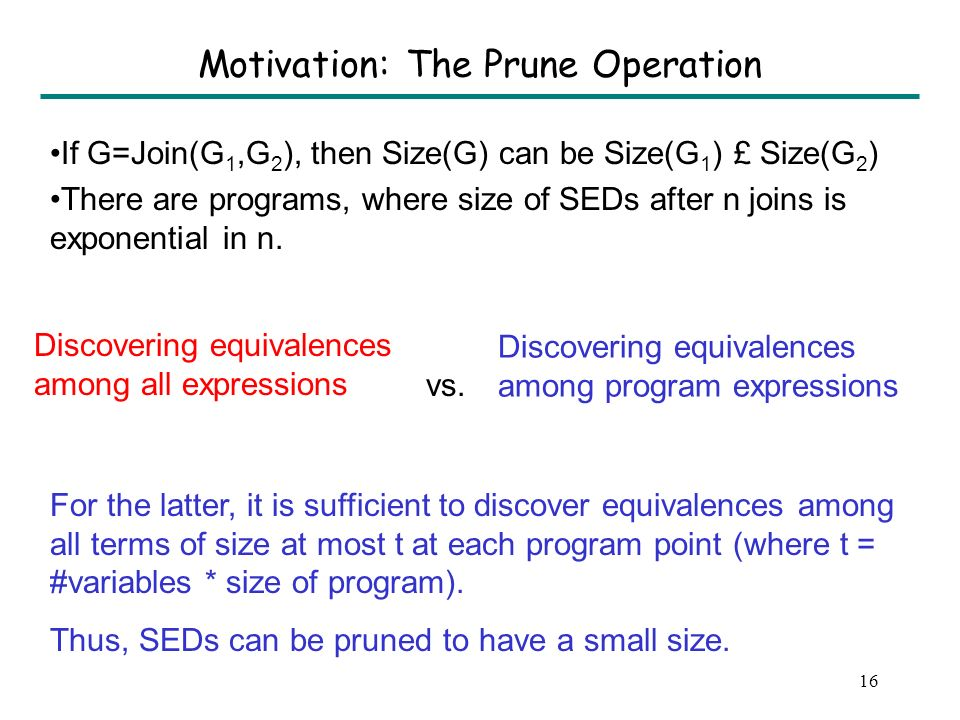 15 Outline Strong equivalence DAG (SED) The join operation: Idea #1 Pruning an SED: Idea #2 The strongest postcondition operation Fixed point computation