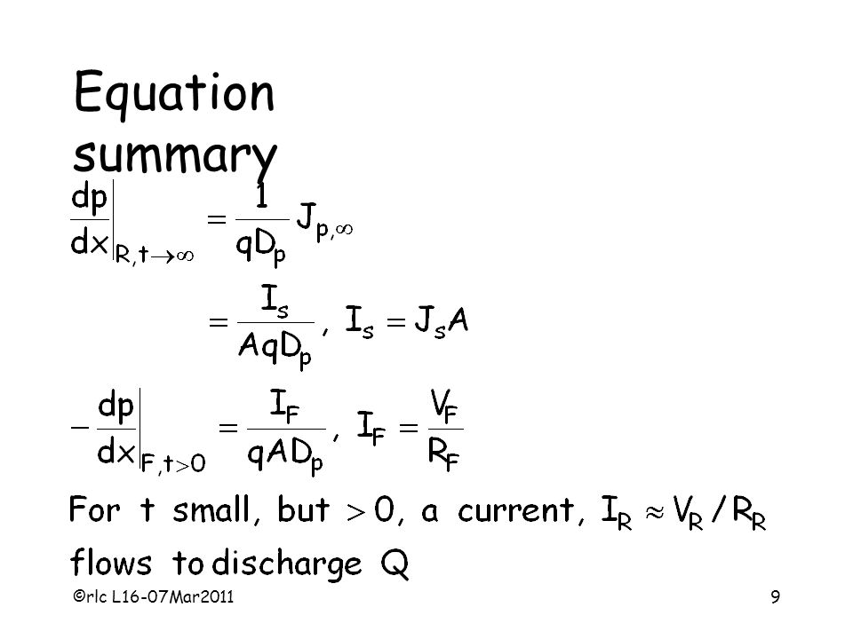 ©rlc L16-07Mar20119 Equation summary