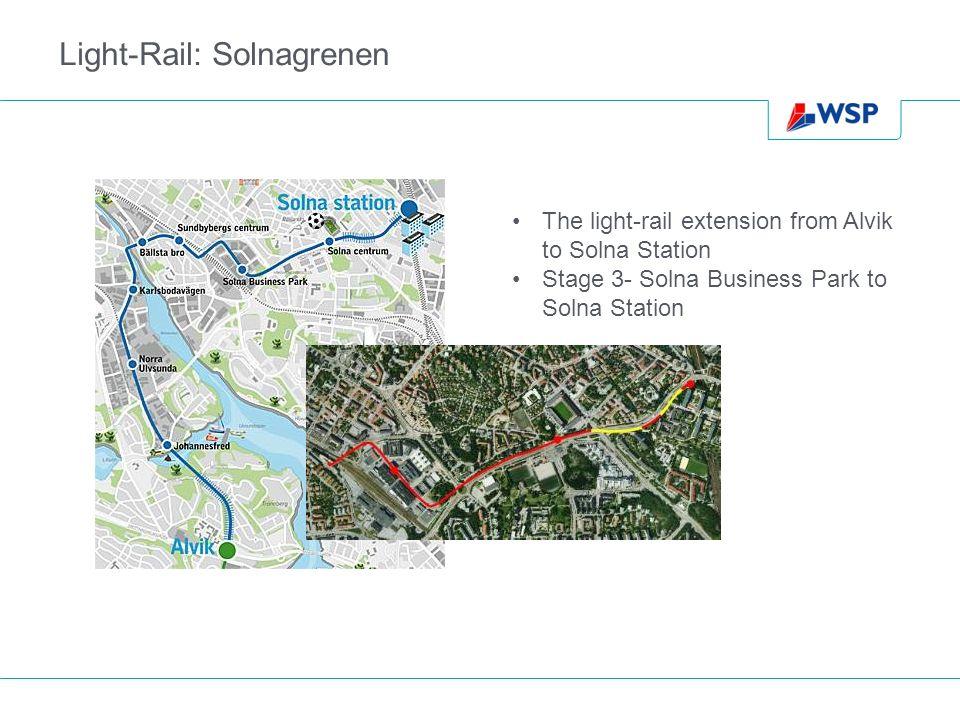 Light-Rail: Solnagrenen The light-rail extension from Alvik to Solna Station Stage 3- Solna Business Park to Solna Station