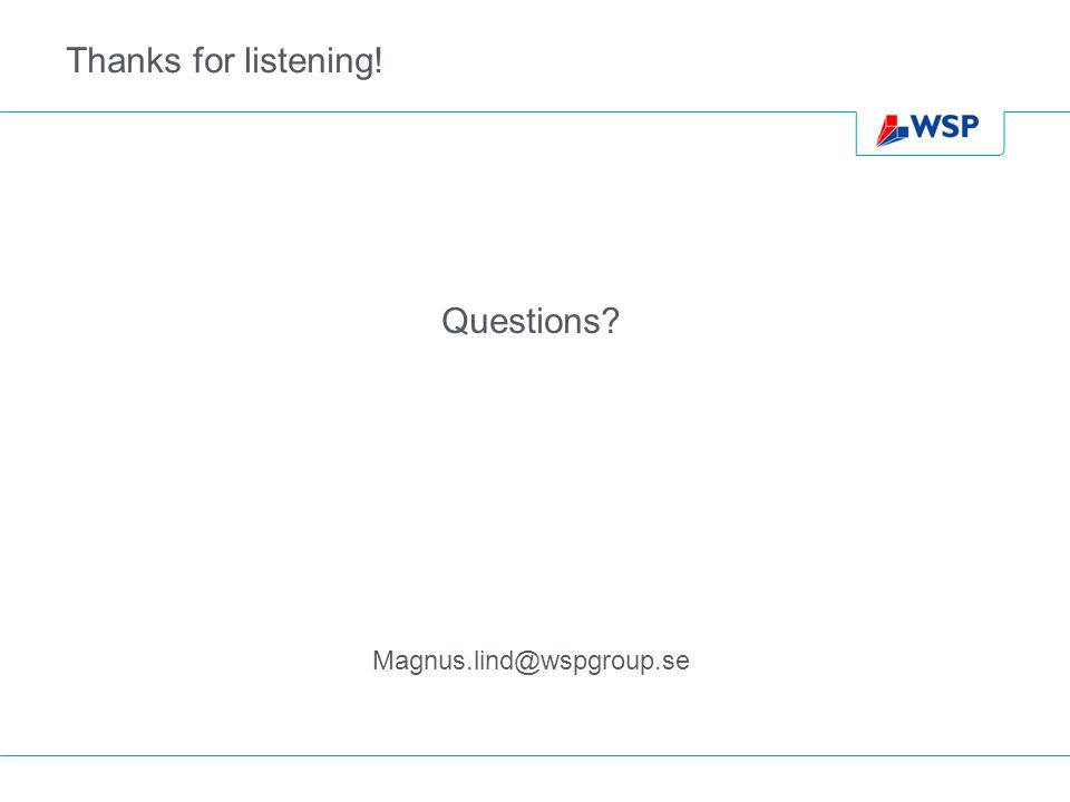 Thanks for listening! Questions Magnus.lind@wspgroup.se