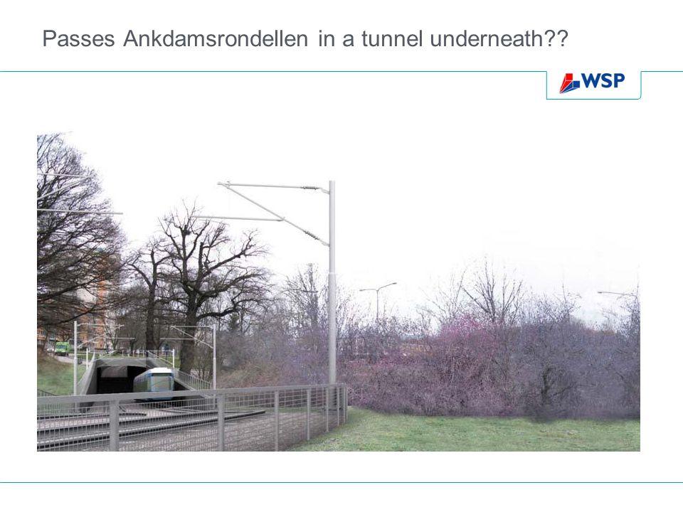 Passes Ankdamsrondellen in a tunnel underneath