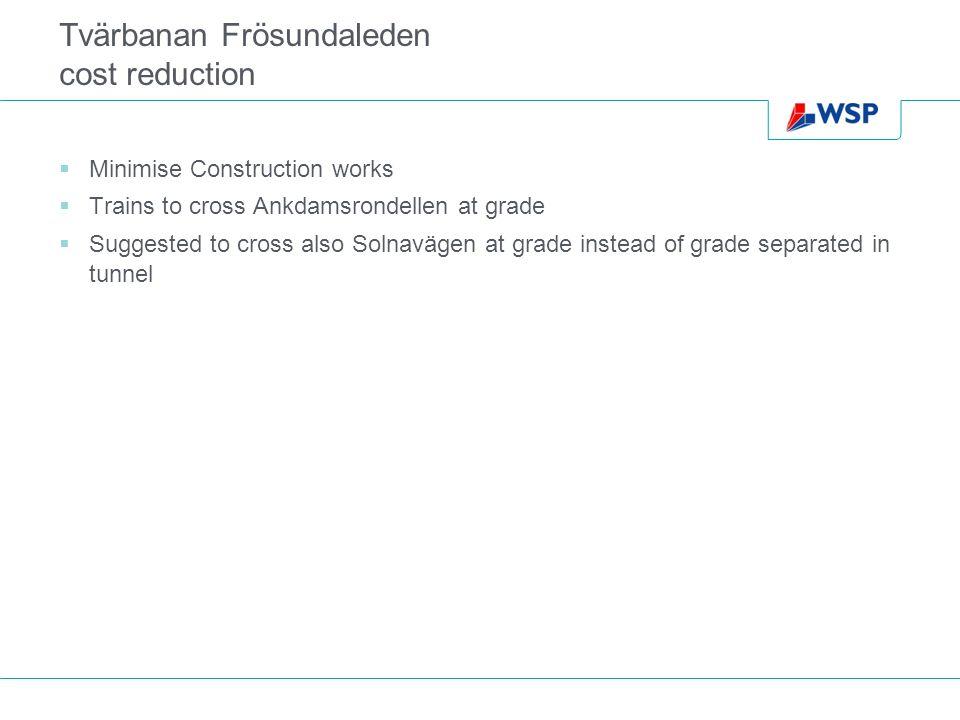 Tvärbanan Frösundaleden cost reduction Minimise Construction works Trains to cross Ankdamsrondellen at grade Suggested to cross also Solnavägen at grade instead of grade separated in tunnel